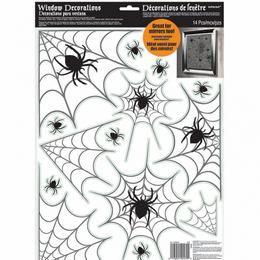 Ablakdekoráció Halloweenre Pókháló Mintás