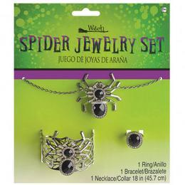 Pókos Ékszer Szett Halloween-ra - 3 db-os - Nyaklánc, Karkötő, Gyűrű