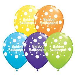 5 inch-es Boldog Szülinapot Big Polka Dots Special Asst. Szülinapi Lufi (25 db/csomag