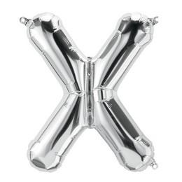 Ezüst 'X' Betű Héliumos Fólia Lufi - 86 cm