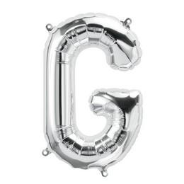 Ezüst 'G' Betű Héliumos Fólia Lufi - 86 cm