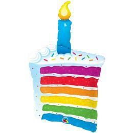 42 inch-es Rainbow Cake and Candles Héliumos Fólia Lufi