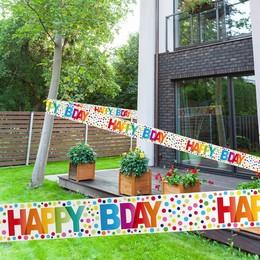 Happy Bday Színes Pöttyös Szülinapi Parti Kordonszalag