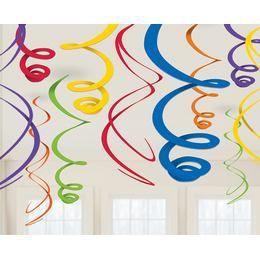 Rainbow Színes Spirális Függő Dekoráció - 56 cm, 12 db-os