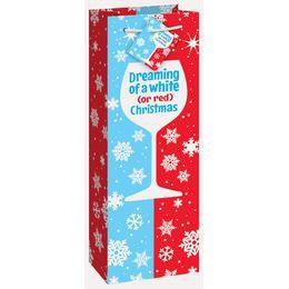 Red or White Karácsonyi Ajándéktasak Egy Üveg Borhoz