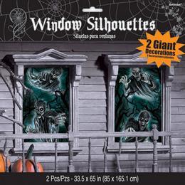 Rémisztő Kísértet Ablakdekoráció Halloween-re - 165 cm x 85 cm, 2 db
