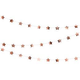 Rosegold Csillagos Dekorációs Parti Füzér - 360 cm
