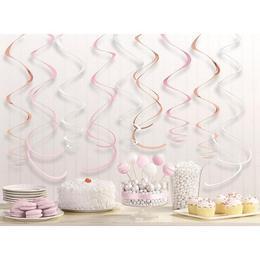 Rózsaarany-Pink-Fehér Vegyes Spirális Függő Dekoráció - 56 cm, 12 db