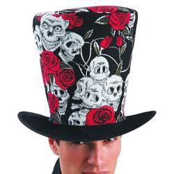 Rózsás Koponyás Fekete Kalap Halloween-ra