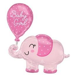 Rózsaszín Elefánt Héliumos Fólia Lufi Babaszületésre