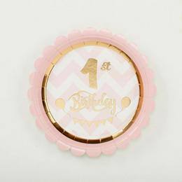 Pink 1st Birthday - Első Szülinapi Parti Tányér - 18 cm, 8 db-os
