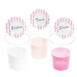 Rózsaszín - Fehér Csíkos Feliratozható Pohárjelölő Kártya - 12 db-os
