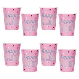 Rózsaszín Glitz Szülinapi Pohár - 270 ml, 8 db-os