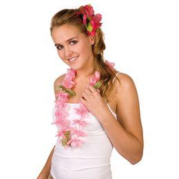 Rózsaszín Hawaii Parti Nyakfüzér Levelekkel