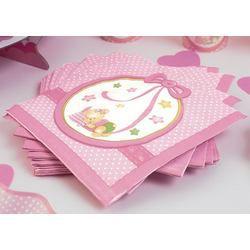 Rózsaszín Macis Csillagos-Pöttyös Bébi Parti Szalvéta - 16 db-os, 33 cm x 33 cm