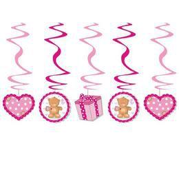 Rózsaszín Macis Spirális Függő Dekoráció