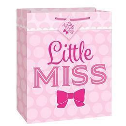Közepes - Rózsaszín Masnis Little Miss Ajándéktasak