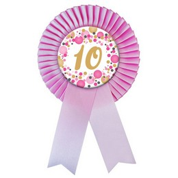10-es Rózsaszín Szalagos Pasztell Konfettis Kitűző