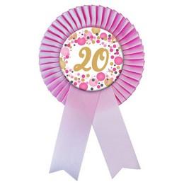 20-as Rózsaszín Szalagos Pasztell Konfettis Kitűző