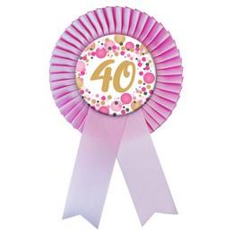 40-es Rózsaszín Szalagos Pasztell Konfettis Kitűző