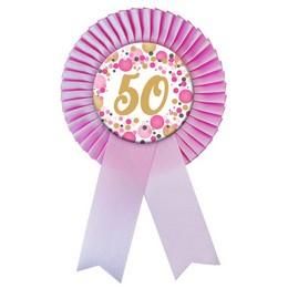 50-es Rózsaszín Szalagos Pasztell Konfettis Kitűző