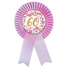 60-as Rózsaszín Szalagos Pasztell Konfettis Kitűző