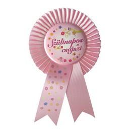Rózsaszín Szalagos Szülinapos Csajszi Party Kitűző