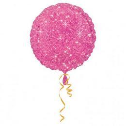18 inch-es Csillogós Pink Sparkle Kerek Fólia Lufi