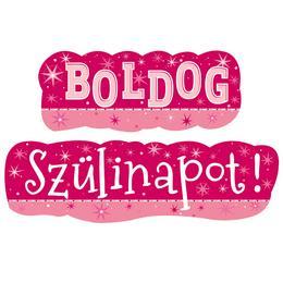 Boldog Szülinapot! Rózsaszín Lányos Banner - 148 cm x 27 cm