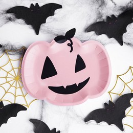 Rózsaszín Tök Formájú Parti Tányér Halloween-re