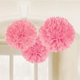 Rózsaszín Bolyhos Függő Dekoráció - 41 cm, 3 db-os