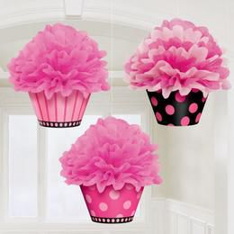 Muffin Alakú Rózsaszín Pöttyös Bolyhos Függő Dekoráció - 26 cm, 3 db-os