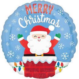 18 inch-es Santa in Chimney Christmas - Mikulás Kéményben Karácsonyi Fólia Lufi
