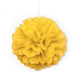 Sárga Bolyhos Függő Dekoráció - 41 cm