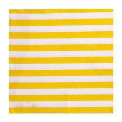 Sárga-Fehér Csíkos Papír Parti Szalvéta - 20 db-os, 33 cm x 33 cm