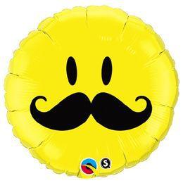 18 inch-es Bajuszos Sárga Mosolygós Arc - Smile Face Mustache Héliumos Fólia Lufi