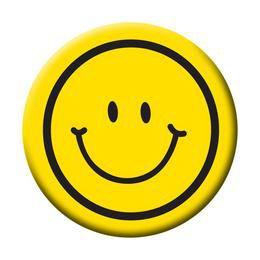 Smile Fej Sárga Kitűző - 5,5 cm