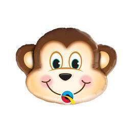 14 inch-es Mischievous Monkey - Mosolygós Majom Fej Fólia Lufi Pálcán