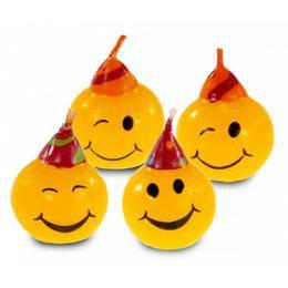 Smiley - Mosolygó Fejek Kalapban Parti Gyertya - 4 db-os