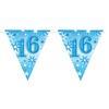 16-os Kék Sparkle Parti Zászlófüzér - 360 cm