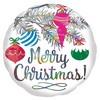Karácsonyfa Dísz Mintás Holografikus Fólia Lufi Karácsonyra, 46 cm