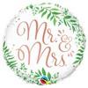 Mr és Mrs Elegáns Mintás Héliumos Esküvői Fólia Lufi, 46 cm