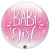 Baby Girl Pöttyös Pink Héliumos Buborék Lufi, 56 cm