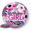 22 inch-es Birthday Girl Virágos Zebra Stripes Szülinapi Héliumos Bubble Lufi