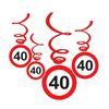 40-es Sebességkorlátozó Születésnapi Függődekoráció - 6 db-os