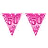 50-es Rózsaszín Sparkle Parti Zászlófüzér - 360 cm