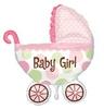 Baby Buggy Girl Super Shape Héliumos Fólia Lufi Babaszületésre