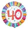 18 inch-es Radiant Birthday 40-es Születésnapi Héliumos Fólia Lufi