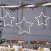 Fából Készült Csillag Dekorációs Szett Karácsonyra - 3 db-os
