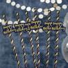 Happy Birthday Feliratú Navy Kék Arany Szülinapi Papír Szívószál - 6 db-os
